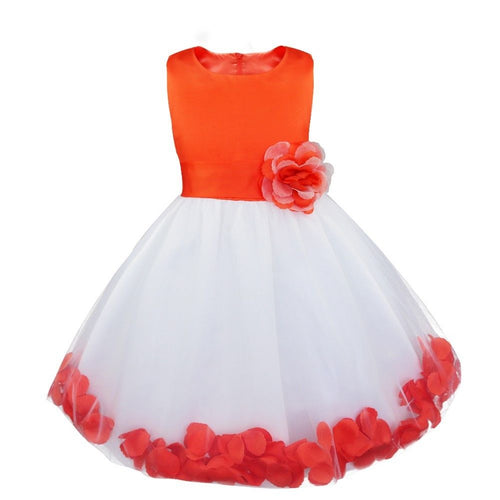 Bonnie white orange floating petals floral flower bridesmaid flower girl girls party dress uk