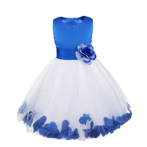 Bonnie white sapphire blue floating petals floral flower bridesmaid flower girl girls party dress uk