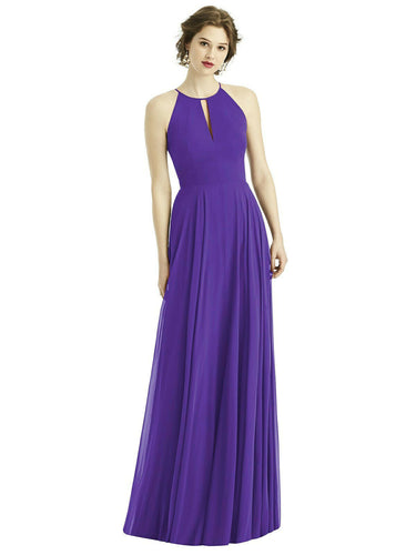 Abbie Cadbury Purple chiffon keyhole long bridesmaid wedding bridal evening prom dress loulous bridal boutique ltd uk