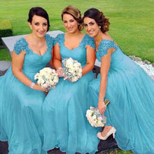 Caitlin Aqua Spa Blue lace chiffon sequin beaded bridesmaid wedding bridal dress loulous bridal boutique uk