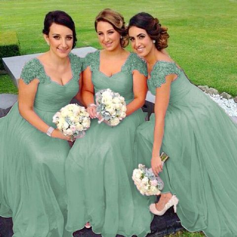 Caitlin bamboo sage green lace chiffon sequin beaded bridesmaid wedding bridal dress loulous bridal boutique uk