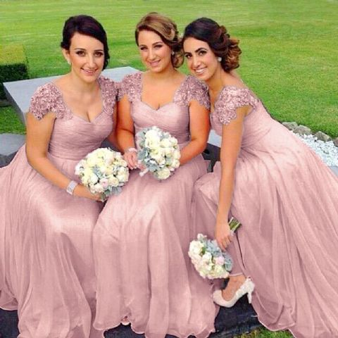 Caitlin Dusky Blush Pink lace chiffon sequin beaded bridesmaid wedding bridal dress loulous bridal boutique uk