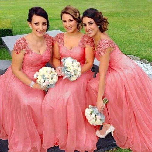Caitlin Coral Orange lace chiffon sequin beaded bridesmaid wedding bridal dress loulous bridal boutique uk