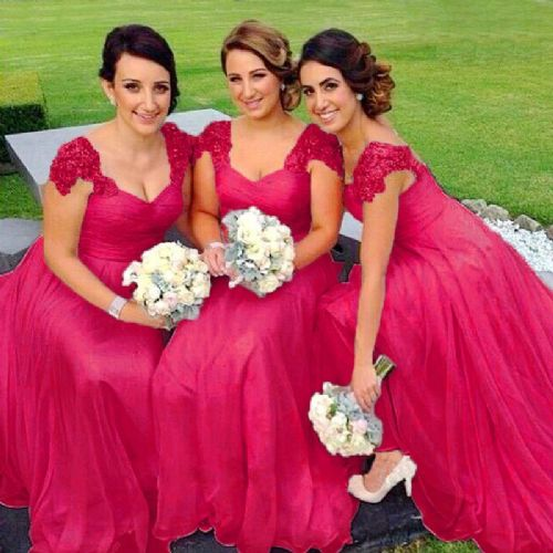 Caitlin Fuchsia Hot Pink Cerise lace chiffon sequin beaded bridesmaid wedding bridal dress loulous bridal boutique uk