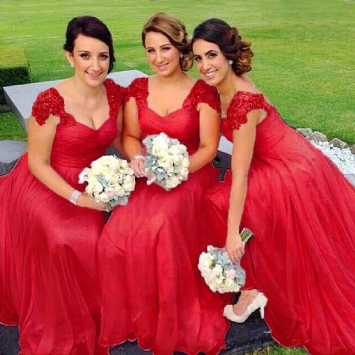 Caitlin Red Scarlet Crimson lace chiffon sequin beaded bridesmaid wedding bridal dress loulous bridal boutique uk