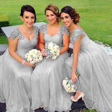 Caitlin silver grey lace chiffon sequin beaded bridesmaid wedding bridal dress loulous bridal boutique uk