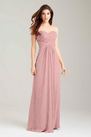 Callie dusky pink blush strapless chiffon bridesmaid dress uk loulous bridal boutique ltd