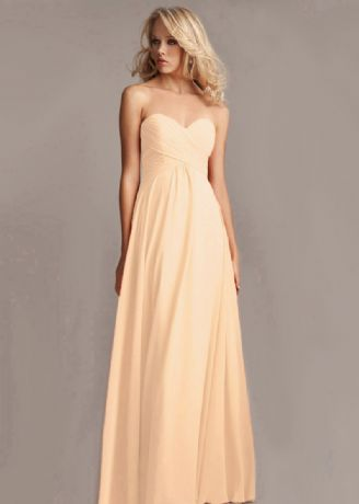 Callie peach chiffon strapless pleated bridesmaid wedding bridal prom evening dress loulous bridal boutique