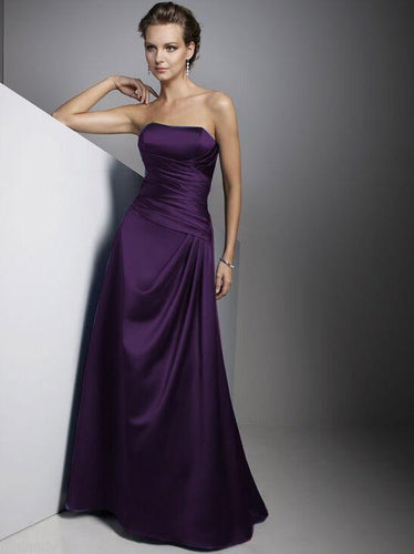 Carly dark purple Satin Strapless Long Evening Wedding Bridesmaid Prom Ballgown Dress UK Loulous Bridal Boutique