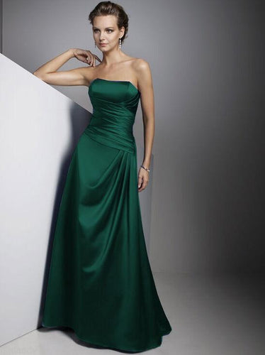 Carly Forest Emerald Green Satin Strapless Long Evening Wedding Bridesmaid Prom Ballgown Dress UK Loulous Bridal Boutique
