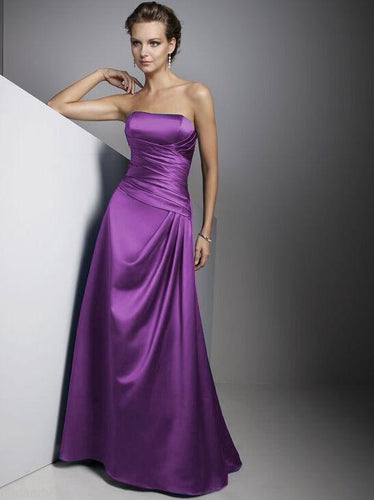 Carly Purple Satin Strapless Long Evening Wedding Bridesmaid Prom Ballgown Dress UK Loulous Bridal Boutique