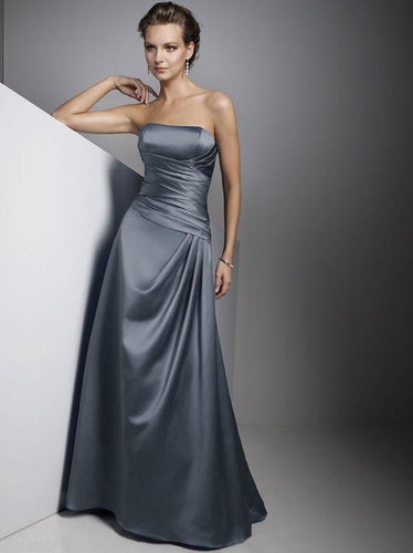 Carly Gunmetal Silver Grey  Satin Strapless Long Evening Wedding Bridesmaid Prom Ballgown Dress UK Loulous Bridal Boutique