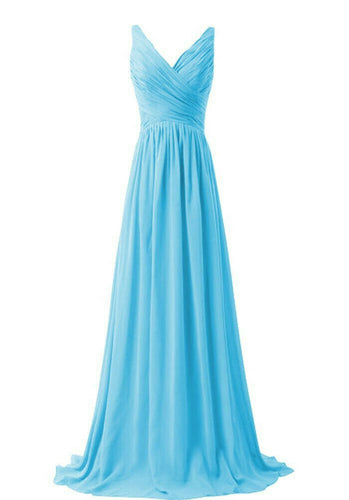 Christina aqua blue  vneck chiffon long bridesmaid wedding evening dress uk loulous bridal boutique ltd