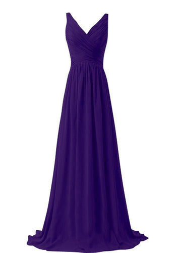 Christina cadbury purple vneck chiffon long bridesmaid wedding evening dress uk loulous bridal boutique ltd