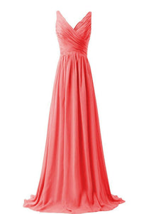 Christina coral orange  vneck chiffon long bridesmaid wedding evening dress uk loulous bridal boutique ltd