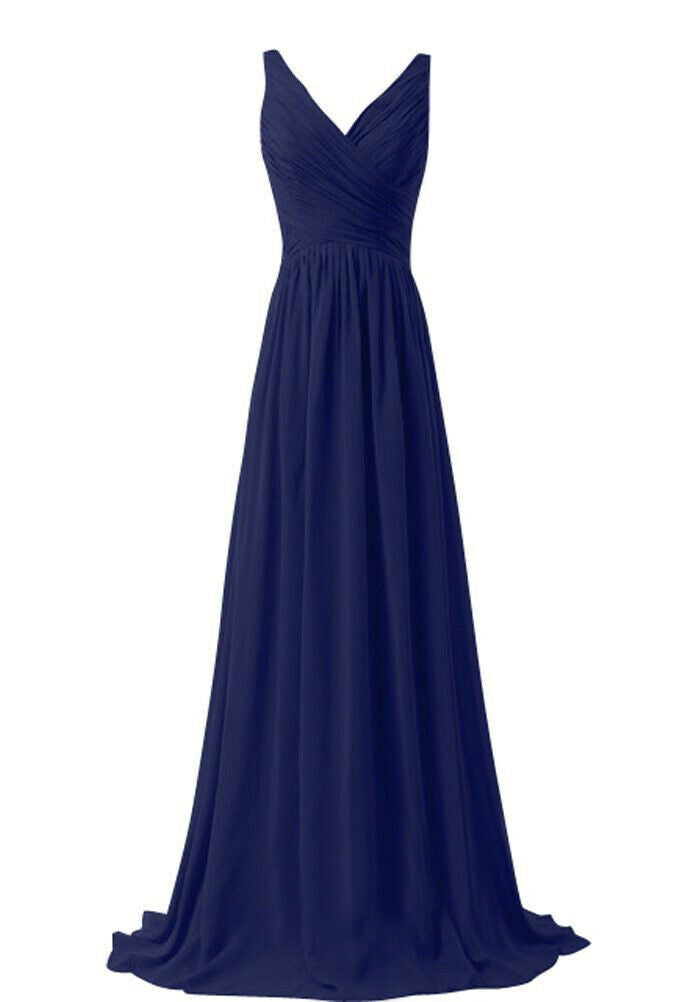 Christina Dark Navy Blue  vneck chiffon long bridesmaid wedding evening dress uk loulous bridal boutique ltd