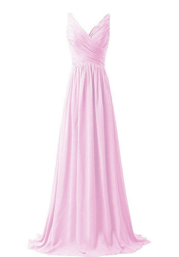 Christina light pale pink  vneck chiffon long bridesmaid wedding evening dress uk loulous bridal boutique ltd