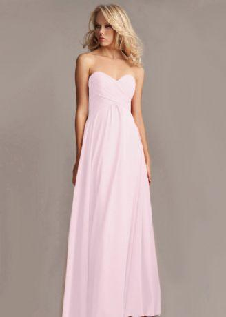 Callie pale pink blush strapless chiffon bridesmaid dress uk loulous bridal boutique ltd