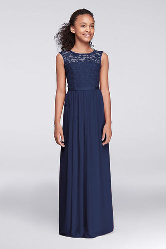 Charlotte Dark Navy Blue lace chiffon long flower girl junior bridesmaid girls wedding bridal special occasion party dress uk