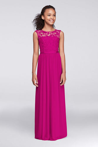 Charlotte Cerise Fuchsia Hot Pink lace chiffon long flower girl junior bridesmaid girls wedding bridal special occasion party dress uk