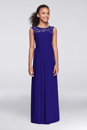 Charlotte Royal Sapphire Cobalt Blue lace chiffon long flower girl junior bridesmaid girls wedding bridal special occasion party dress uk