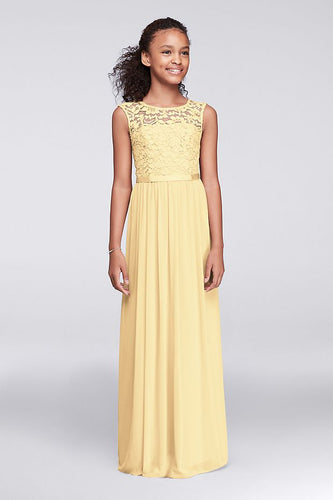 Charlotte Lemon Yellow  lace chiffon long flower girl junior bridesmaid girls wedding bridal special occasion party dress uk