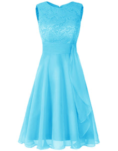 Clara Aqua Turquoise Blue lace chiffon short knee length bridesmaid dress loulous bridal boutique ltd uk