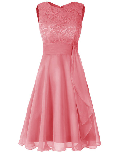 Clara Coral orange  lace chiffon short knee length bridesmaid dress loulous bridal boutique ltd uk