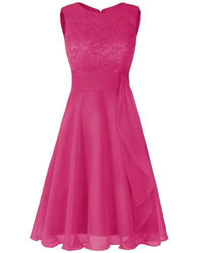 Clara Cerise Raspberry Fuchsia Hot Pink  lace chiffon short knee length bridesmaid dress loulous bridal boutique ltd uk