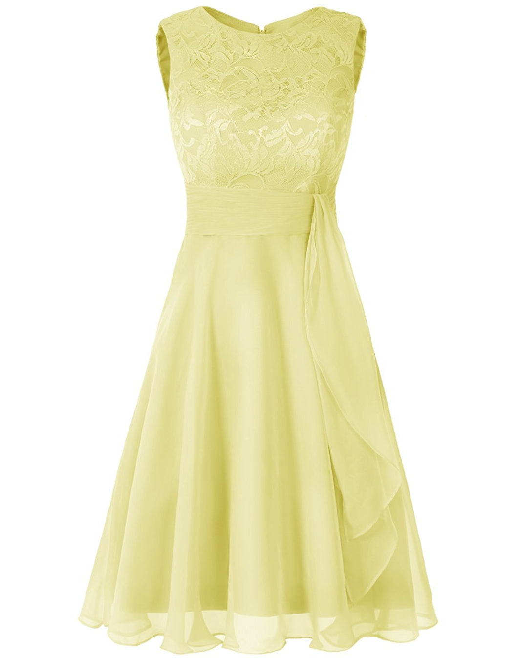 Clara lemon yellow Short Bridesmaid Wedding Bridal Evening Dress UK loulous bridal boutique ltd