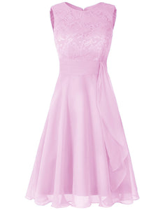 Clara pale light pink lace chiffon short knee length bridesmaid dress loulous bridal boutique ltd uk