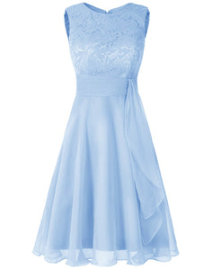 Clara pale light  blue  lace chiffon short knee length bridesmaid dress loulous bridal boutique ltd uk