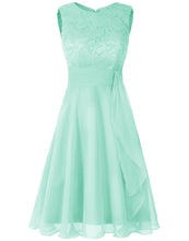 Clara Pale Light mint green  lace chiffon short knee length bridesmaid dress loulous bridal boutique ltd uk