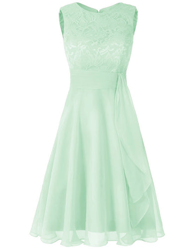 Clara Pale Light pistachio mint green  lace chiffon short knee length bridesmaid dress loulous bridal boutique ltd uk