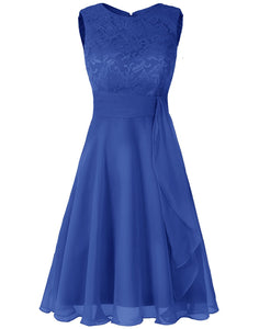 Clara royal cobalt blue  lace chiffon short knee length bridesmaid dress loulous bridal boutique ltd uk