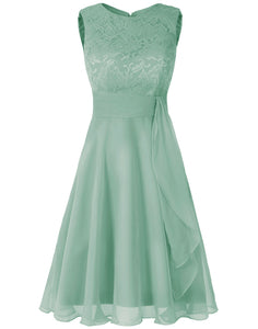 Clara bamboo sage olive  green  lace chiffon short knee length bridesmaid dress loulous bridal boutique ltd uk