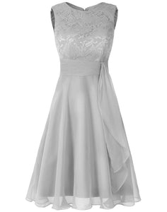Clara Pale Light silver grey  lace chiffon short knee length bridesmaid dress loulous bridal boutique ltd uk