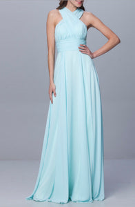 Darcy Blue Multiway Multi Way Infinity Chiffon long bridesmaid wedding bridal prom evening dress uk
