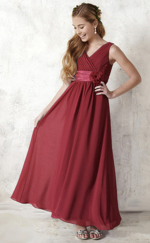 Daphne Berry Wine Burgundy Flowergirl girls junior bridesmaid party dress UK Loulous Bridal Boutique