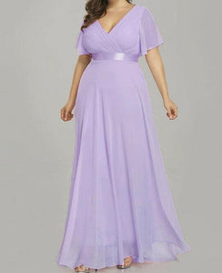 Davina Lilac Mauve v neck butterfly short sleeved long bridesmaid wedding dress loulous bridal boutique ltd uk