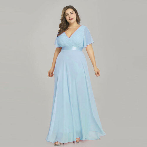 Davina Pale Light Pastel Baby blue short sleeved vneck bridesmaid wedding bridal dress uk