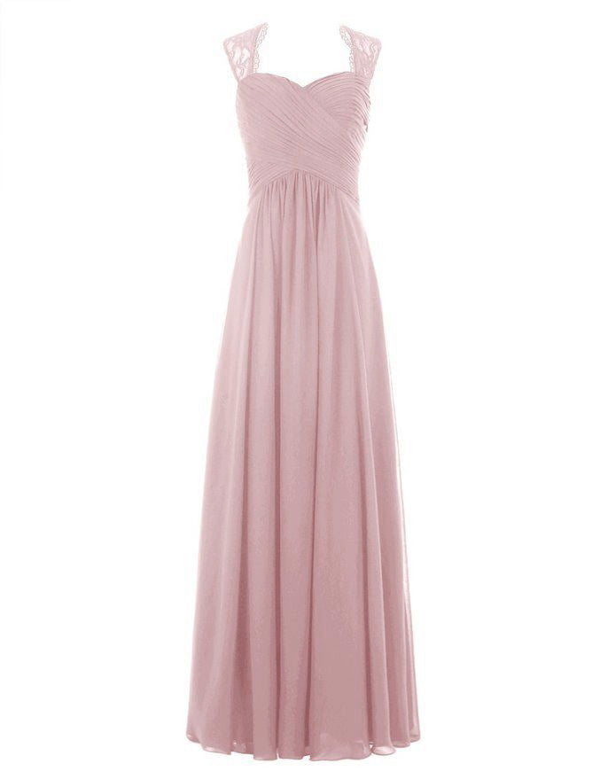 Emma Dusky dusty blush pink lace chiffon long bridesmaid wedding bridal prom dress loulous bridal boutique ltd uk