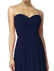 Faye dark navy blue  strapless chiffon long bridesmaid evening prom dress loulous bridal boutique ltd uk