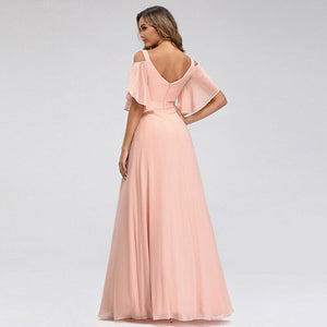 Fleur cold shoulder vneck long chiffon bridesmaid wedding bridal prom evening dress loulous bridal boutique ltd uk