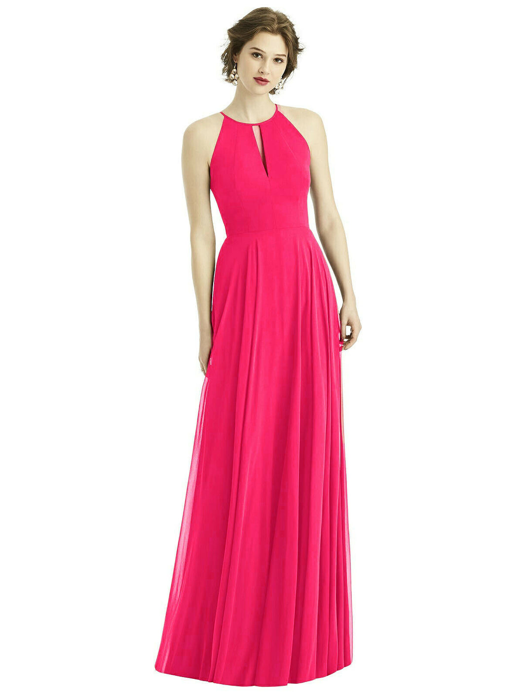 Fuchsia cerise hot pink  long halter neck bridesmaid evening prom wedding bridal dress Loulous Bridal Boutique Ltd UK