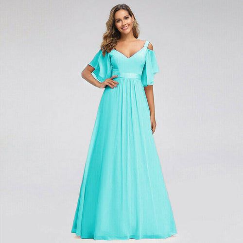 Fleur Aqua Spa Blue Turquoise cold shoulder long bridesmaid dress uk