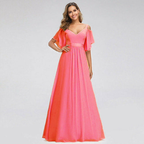 Fleur coral orange cold shoulder long bridesmaid dress uk