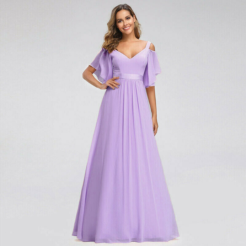 Fleur lilac cold shoulder vneck long chiffon bridesmaid wedding bridal prom evening dress loulous bridal boutique ltd uk