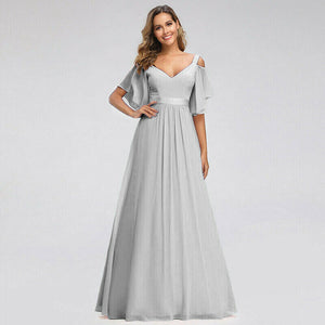 Fleur silver grey cold shoulder vneck long chiffon bridesmaid wedding bridal prom evening dress loulous bridal boutique ltd uk