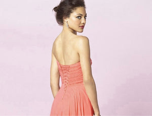 Faye CORAL ORANGE  strapless chiffon long bridesmaid evening prom dress loulous bridal boutique ltd uk